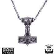 "Northern Viking Jewelry Kaulakoru ""Eternity Knotwork Thor's Hammer"""