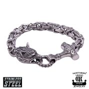 "Northern Viking Jewelry Rannekoru ""Byzantine Thor's Hammer Wolf Head"""
