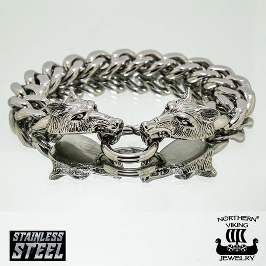Northern Viking Rannekoru Steel Chain Wolf Head
